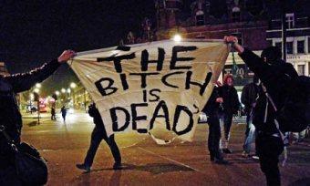 Margaret Thatcher death celebrations in Brixton, London